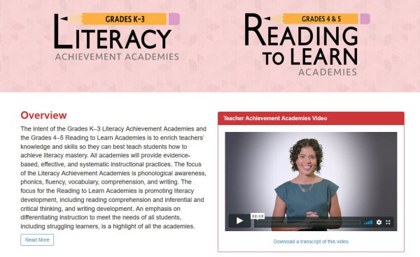 Literacy Achievement Academies & Reading to Learn Academies